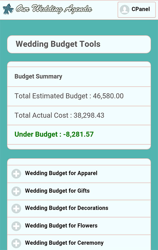 our wedding planner tools weding planner budget tools