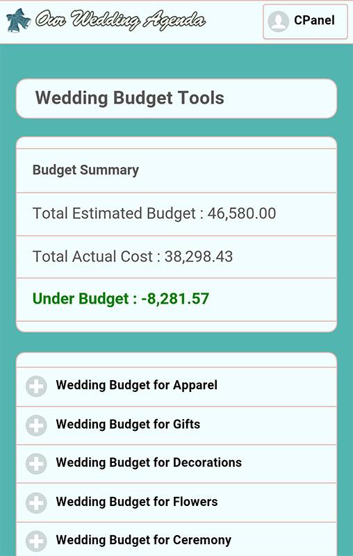 wedding budget tool
