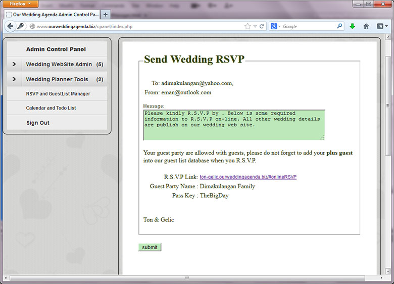 Rsvp List Sample Wedding Guest List Template  Free Documents In